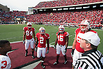 Wisconsin Badgers captains Gabe Carimi (68), Culmer St.Jean (15), Jay Valai (2) and Lance Kendricks (84) watch the coin toss prior to an NCAA college football game against the Austin Peay Governors on September 25, 2010 at Camp Randall Stadium in Madison, Wisconsin. The Badgers beat the Governors 70-3. (Photo by David Stluka)