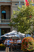 People having drinks at the Quay Bar outside the Customs House, Sydney, New South Wales, Australia