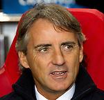 Nederland, Amsterdam, 24 oktober  2012.Champions League.Seizoen 2012-2013.Ajax-Manchester City 3-1.Roberto Mancini manager trainer-coach van Manchester City