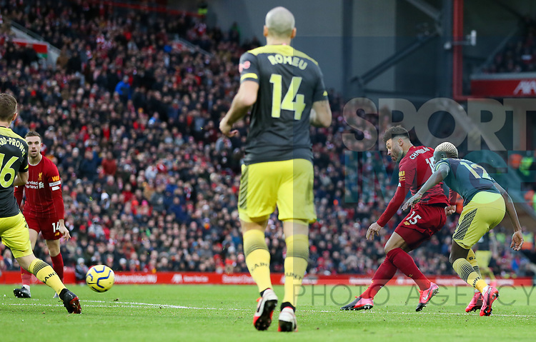 Alex Oxlade-Chamberlain of Liverpool scores the first goal of the game during the Premier League match at Anfield, Liverpool. Picture date: 1st February 2020. Picture credit should read: James Wilson/Sportimage