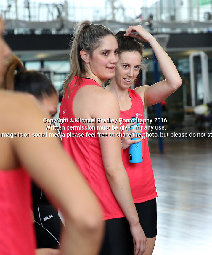 02.09.2016 Silver Ferns Te Paea Selby-Rickit ad Bailey Mes during training in Melbourne Australia. Mandatory Photo Credit ©Michael Bradley.