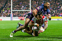 Picture by Alex Whitehead/SWpix.com - 16/03/2018 - Rugby League - Betfred Super League - St Helens v Leeds Rhinos - Totally Wicked Stadium, St Helens, England - St Helens' Ben Barba scores a try.