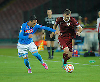 Jose Callejon Josef Husbauer   during the Europa League   soccer match between SSC Napoli and Sparta Praha  at  the San Paolo   stadium in Naples  Italy , september 18 , 2014
