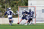 Los Angeles, CA 03/12/16 - Alec King (Utah State #27), Beau Artist (Utah State #15), Porter Mcfadden (Utah State #11) and Levi Law (Utah State #24) in action during the Utah State vs Loyola Marymount MCLA Men's Division I game at Leavey Field at LMU.  Utah State defeated LMU 17-4.