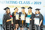 Hats away for the Early Childhood Care graduates graduating from I T Tralee on Friday. L to r: Sharon P O'Connor, Emma L Naughton, Michelle McCarthy. Rebecca L McGovern and Jennifer White.