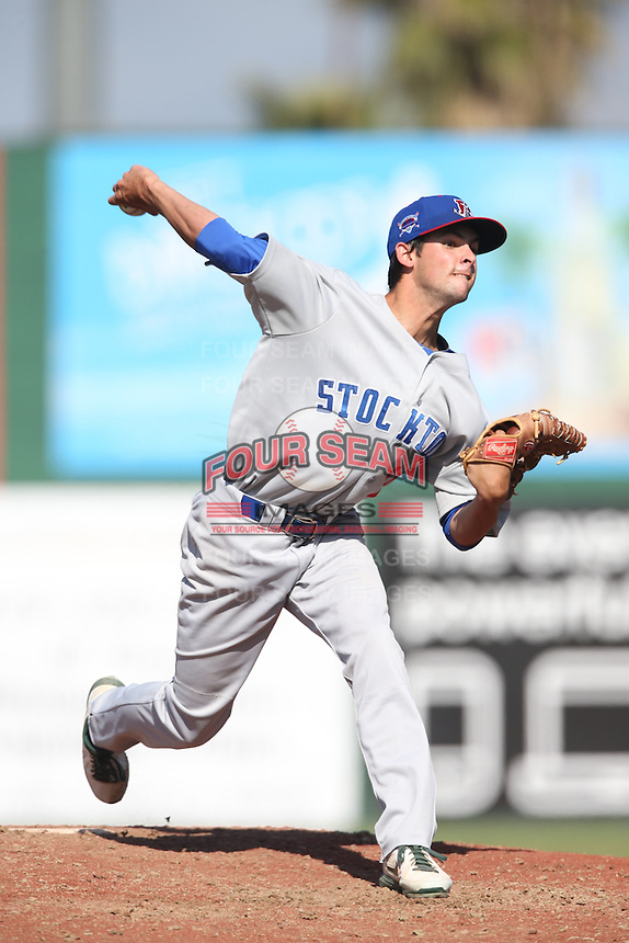 Joel Seddon (21) of the Stockton Ports pitches during a game against the Inland Empire 66ers at The Hanger on April 11, 2015 in Lancaster, California. San Jose defeated Lancaster, 8-3. (Larry Goren/Four Seam Images)