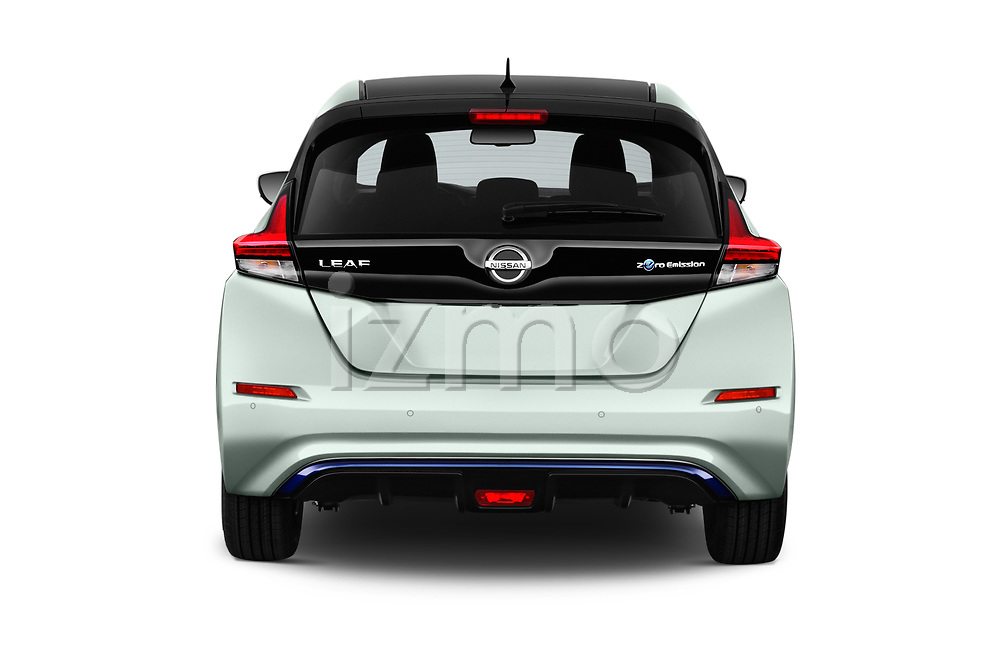 Straight rear view of a 2018 Nissan Leaf Tekna 5 Door Hatchback stock images