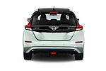 Straight rear view of a 2018 Nissan Leaf Tekna 5 Door Hatchback stock images