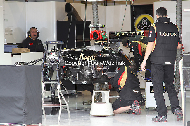 Formula 1 racing teams get their cars ready for race action before the Formula 1 United States Grand Prix practice session at the Circuit of the Americas race track in Austin,Texas.