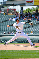 Salt Lake Bees starting pitcher Alex Sanabia (34) delivers a pitch to the plate against the Fresno Grizzlies in Pacific Coast League action at Smith's Ballpark on June 14, 2015 in Salt Lake City, Utah.  (Stephen Smith/Four Seam Images)