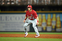 Palm Beach Cardinals right fielder Thomas Spitz (43) leads off first during a game against the Bradenton Marauders on August 9, 2016 at McKechnie Field in Bradenton, Florida.  Bradenton defeated Palm Beach 8-7.  (Mike Janes/Four Seam Images)