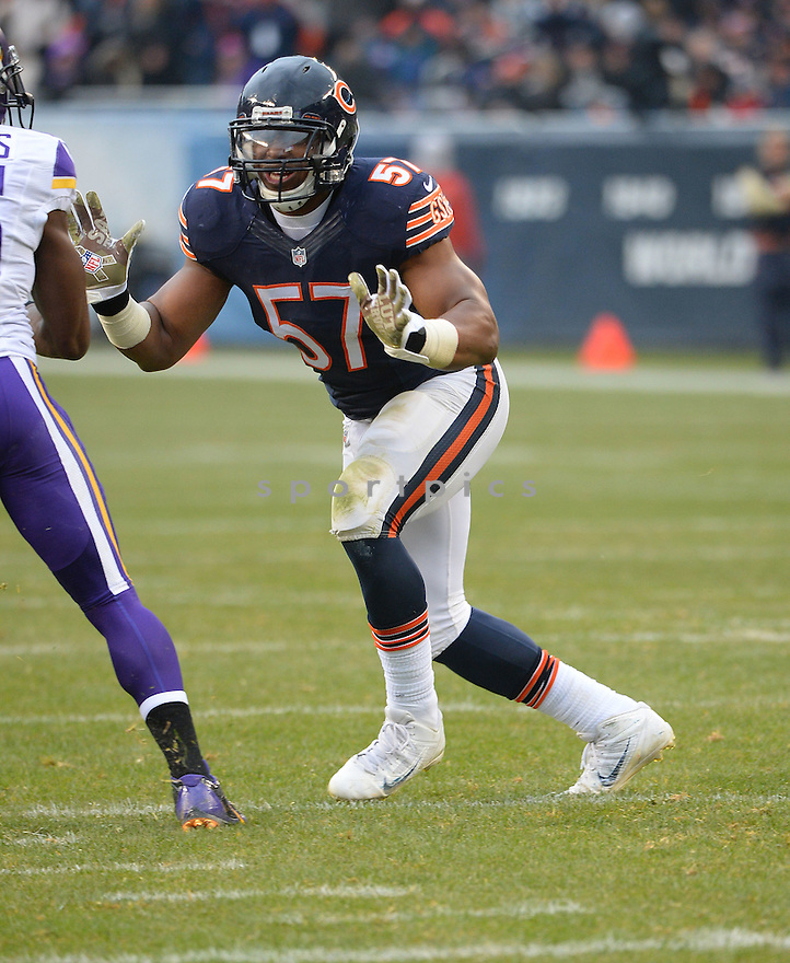 Chicago Bears Jonathan Bostic (57) during a game against the Minnesota Vikings on November 16, 2014 at Soldier Field in Chicago, IL. The Bears beat the Vikings 21-13.