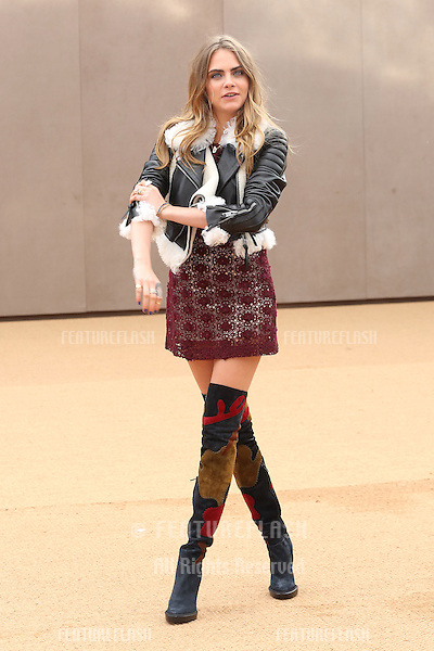 Cara Delevingne arriving for LFW Autumn/Winter 2015 - Burberry Prorsum, London. 23/02/2015 Picture by: James Smith / Featureflash