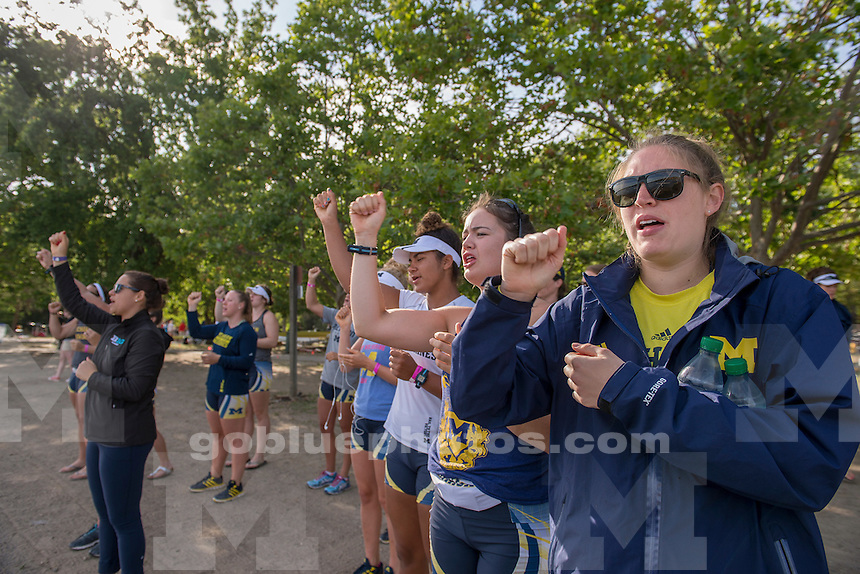 The University of Michigan Rowing team competes on the first day of the 2015 NCAA National Rowing Championships. Gold River, CA, May 29, 2015