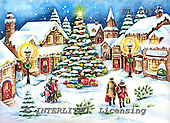 Interlitho, CHRISTMAS LANDSCAPES, WEIHNACHTEN WINTERLANDSCHAFTEN, NAVIDAD PAISAJES DE INVIERNO, paintings+++++,winter scene,blue sky,KL6013,#xl#,market place,christmas tree