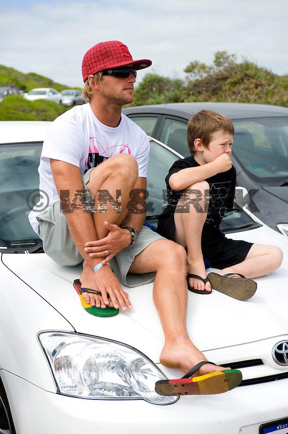Australian Josh Kerr and Collin at the Margaret River carpark, Western Australia.