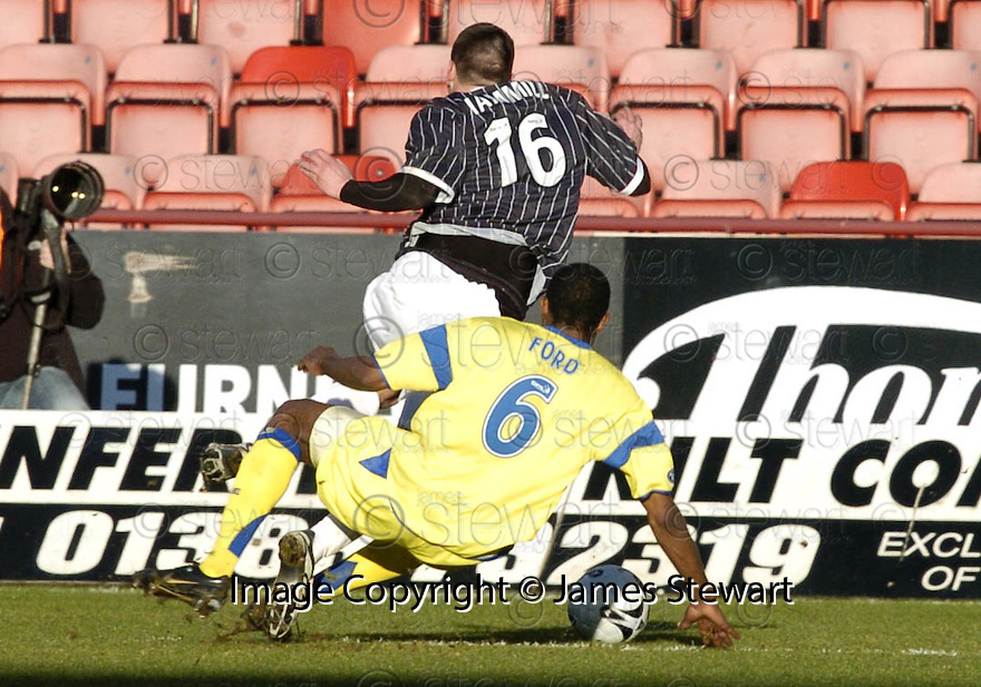 17/02/2007       Copyright Pic: James Stewart.File Name : sct_jspa09_dunfermline_v_kilmarnock.KILMARNOCK'S SIMON FORD HEADS FOR AN EARLY BATH AFTER BRINGING DOWN ADAM HAMILL....James Stewart Photo Agency 19 Carronlea Drive, Falkirk. FK2 8DN      Vat Reg No. 607 6932 25.Office     : +44 (0)1324 570906     .Mobile   : +44 (0)7721 416997.Fax         : +44 (0)1324 570906.E-mail  :  jim@jspa.co.uk.If you require further information then contact Jim Stewart on any of the numbers above.........