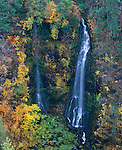 Rogue River National Forest, OR<br /> Barr Creek Falls spilling over basalt cliff into the Rogue River