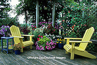 63821-14511 Yellow Adirondack chairs, Hummingbird feeder & blue table with birdhouses on deck  - Marion Co, IL