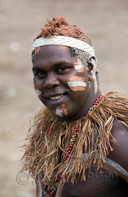 Portrait of a Lockhart River dancer at the Laura Aboriginal Dance Festival.  Laura, Queensland, Australia