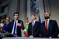 Roma, 12 Aprile 2018<br /> Partito Democratico<br /> Andrea Marcucci, Maurizio Martina, Graziano Delrio, Matteo Orfini<br /> Secondo giro di Consultazioni per la formazione del Governo