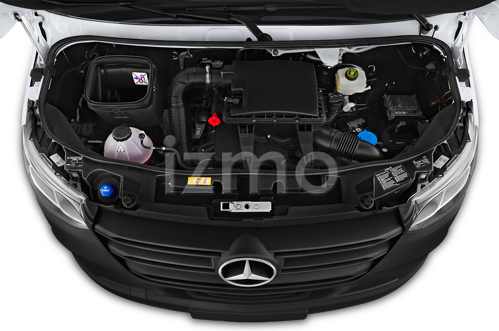 Car stock 2019 Mercedes Benz Sprinter DC Base 4 Door Pick Up engine high angle detail view