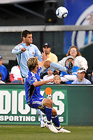 Colin Clark, Michael Harrington (blue)...Kansas City Wizards defeated Colorado Rapids 1-0 at Community America Ballpark, Kansas City, Kansas.
