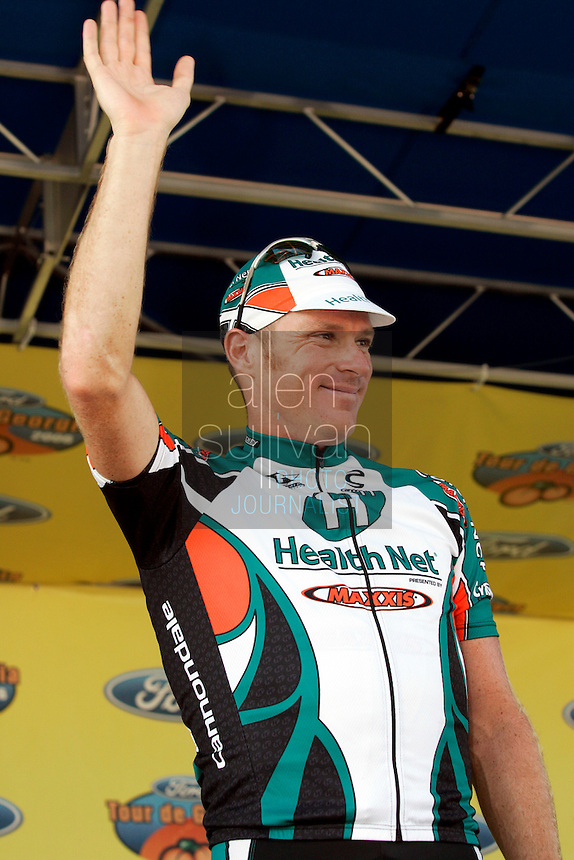 Gord Fraser of Phonak Hearing Systems celebrates after taking third place in Stage 6 of the Ford Tour de Georgia. Floyd Landis of Phonak Hearing Systems won the entire Tour de Georgia.<br />
