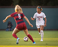 STANFORD, CA - August 30, 2019: Kennedy Wesley at Maloney Field at Laird Q. Cagan Stadium. The Cardinal defeated the University of Pennsylvania Quakers 5-1.