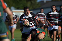 Action from the Auckland first grade club rugby match between Pakuranga and Manukau Rovers at Bell Park in Auckland, New Zealand on Saturday, 9 June 2018. Photo: Dave Lintott / lintottphoto.co.nz