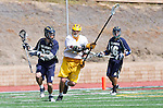 San Diego, CA 05/25/13 - Andrew Dickinson (Del Norte #23) and David LeBaron (Parker #21) in action during the CIF San Diego Section Boys Division 2 Lacrosse Championship game.  Parker defeated Del Norte 12-4 for the 2013 title.