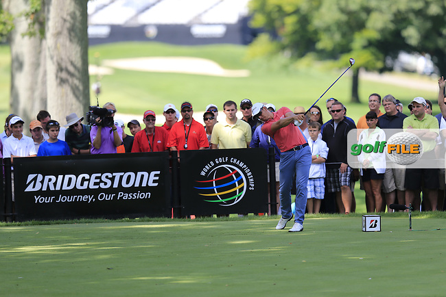 Henrik Stenson (SWE) tees off the 11th tee during Sunday's Final Round of the 2013 Bridgestone Invitational WGC tournament held at the Firestone Country Club, Akron, Ohio. 4th August 2013.<br /> Picture: Eoin Clarke www.golffile.ie