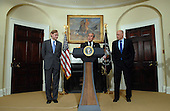 Washington, D.C. - May 30, 2007 -- United States President George W. Bush announces Robert Zoellick as his choice to be the next World Bank President from the Roosevelt Room of the White House on Wednesday, May 30, 2007. Zoellick is a former Deputy Secretary of State and U.S. Trade Representative.  At right is Secretary of the Treasury, Henry M. Paulson, Jr.  <br /> Credit: Roger L. Wollenberg - Pool via CNP