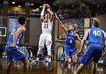SIOUX FALLS, SD - MARCH 8:  Jalen Miller #23 from Governors State spots up for a jumper over Nygel Drury #5 from Dakota Wesleyan at the 2018 NAIA DII Men's Basketball Championship at the Sanford Pentagon in Sioux Falls. (Photo by Dave Eggen/Inertia)