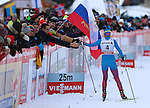 Final of the sprint of the FIS Cross Country Ski World Cup  in Dobbiaco, Toblach, on January 14, 2017. Russia's Natalia Matveeva wins ahead of Maiken Caspersen Falla (NOR), third from Sweden Hanna Falk. In men's category, victory for Sindre Bjoernestad (NOR), second Simeon Hamilton (USA),  third Johannes Hoesflot Klaebo (NOR).  Credit: Pierre Teyssot