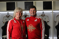 Kit staff Susan and Michael Eames the Barclays Premier League match between Swansea City and Watford at the Liberty Stadium, Swansea on January 18 2016