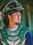 1 September 2014: Vermont Lake Monsters catcher Jose Chavez looks out from the dugout during the season's Labor Day finale against the Tri-City ValleyCats at Centennial Field in Burlington, Vermont. The ValleyCats defeated the Lake Monsters 3-2 in NY Penn League action. Mandatory Credit: Ed Wolfstein Photo *** RAW Image File Available ****