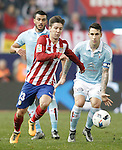 Atletico de Madrid's LucianoVietto (l) and Celta de Vigo's Gustavo Cabral (b) and Hugo Mallo during Spanish Kings Cup match. January 27,2016. (ALTERPHOTOS/Acero)