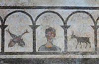Portrait of one of the owners of the house, in arched colonnade design with 2 fish and a goat, 1st century AD, part of the mosaic floor surrounding the impluvium or water tank of the atrium of the Casa di Paquio Proculo, or House of Paquius Proculus, Pompeii, Italy. Pompeii is a Roman town which was destroyed and buried under 4-6 m of volcanic ash in the eruption of Mount Vesuvius in 79 AD. Buildings and artefacts were preserved in the ash and have been excavated and restored. Pompeii is listed as a UNESCO World Heritage Site. Picture by Manuel Cohen