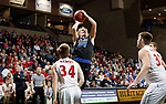 SIOUX FALLS, SD - MARCH 9:  Derek Hinen #34 of St. Francis shoots over Northwestern defenders at the 2018 NAIA DII Men's Basketball Championship at the Sanford Pentagon in Sioux Falls. (Photo by Dick Carlson/Inertia)