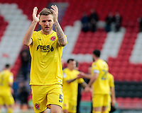 Fleetwood Town's Ashley Eastham applauds the fans at the final whistle <br /> <br /> Photographer David Shipman/CameraSport<br /> <br /> The EFL Sky Bet League One - Doncaster Rovers v Fleetwood Town - Saturday 6th October 2018 - Keepmoat Stadium - Doncaster<br /> <br /> World Copyright &copy; 2018 CameraSport. All rights reserved. 43 Linden Ave. Countesthorpe. Leicester. England. LE8 5PG - Tel: +44 (0) 116 277 4147 - admin@camerasport.com - www.camerasport.com