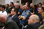 Several hundred representatives from state police, fire and labor organizations attend a hearing at the Legislative Building in Carson City, Nev., on Monday, Feb. 23, 2015. Lawmakers are considering a proposal that would limit presumed benefits for public safety workers for diseases caused by exposures to work-related hazards.  <br /> Photo by Cathleen Allison