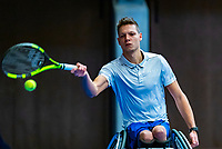 Alphen aan den Rijn, Netherlands, December 14, 2018, Tennispark Nieuwe Sloot, Ned. Loterij NK Tennis,  Wheelchair men's doubles :  Ruben Spaargaren (NED)<br /> Photo: Tennisimages/Henk Koster