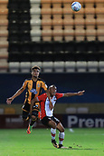 3rd October 2017, The Abbey Stadium, Cambridge, England; Football League Trophy Group stage, Cambridge United versus Southampton U21; Tyreke Johnson of Southampton battles with Leon Davies of Cambridge United
