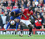 Romelu Lukaku of Manchester United challenges Ashley Williams of Everton  during the premier league match at the Old Trafford Stadium, Manchester. Picture date 17th September 2017. Picture credit should read: Simon Bellis/Sportimage