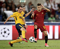 Football Soccer: UEFA Champions League AS Roma vs Atletico Madrid Stadio Olimpico Rome, Italy, September 12, 2017. <br /> Atletico Madrid's Diego Godin (l) in action with Roma's Stephan El Shaarawy (r) during the Uefa Champions League football soccer match between AS Roma and Atletico Madrid at at Rome's Olympic stadium, September 12, 2017.<br /> UPDATE IMAGES PRESS/Isabella Bonotto