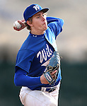 Western Nevada's Matt Young pitches against Western Arizona in their home opener in Carson City, Nev. on Friday, Feb. 12, 2016. AWC won 9-5. <br /> Photo by Cathleen Allison/Nevada Photo Source