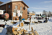 Ryan Redington leaves the Takotna checkpoint after completing his 24 hour layover Thursday during the 2008 Iditarod