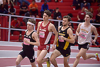 NWA Democrat-Gazette/BEN GOFF @NWABENGOFF<br /> Alex George (from left), running unattached, Liam Meirow of Oklahoma, Thomas George of Missouri and Zack Penrod of Wichita State run in the 1 mile run invitational Friday, Feb. 10, 2017 during the Tyson Invitational at the Randal Tyson Track Complex in Fayetteville.