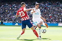 Real Madrid Raphael Varane and Atletico de Madrid Vitolo Machin during La Liga match between Real Madrid and Atletico de Madrid at Santiago Bernabeu Stadium in Madrid, Spain. April 08, 2018. (ALTERPHOTOS/Borja B.Hojas) /NortePhoto NORTEPHOTOMEXICO
